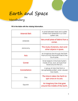 Earth and Space Vocabulary