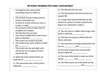 Earth and Space Vocabulary Dice Game