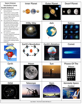 Earth and Space Vocabulary Game