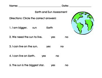 Earth and Sun Assessment