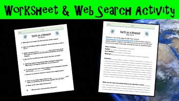 Earth as a Magnet No Prep Lesson with Power Point, Worksheets, and Web Search