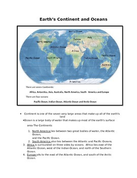 Earth with continents teaching resources teachers pay teachers earth continents and oceans for 2nd grade freerunsca Image collections