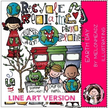 Melonheadz: Earth Day clip art - LINE ART