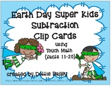 Earth day Super Kids Subtraction Clip Cards using Touch Math facts 11-20