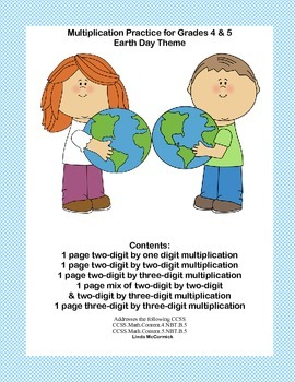 Earth Day Theme-Multiplication Practice for Grades 4 & 5