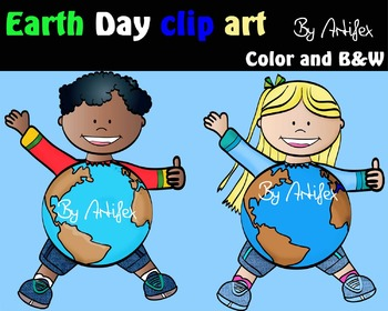 Earth day clip art - Color and black/white