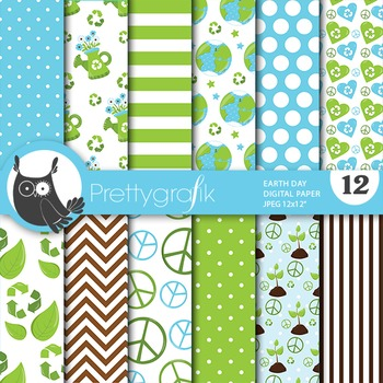 Earth day digital paper, commercial use, scrapbook papers - PS708