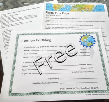 Earth day lights off door hanger and FREE Earth Day fact sheet and pledge sheet