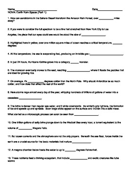 """Earth from Space"" (Part 1) worksheet (NOVA)"