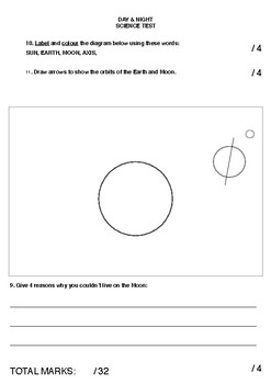 Earth, Moon & Sun Science Exam - Year 3/4