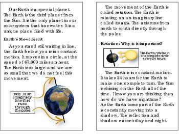 Earth on the Move: Rotation and Revolution, Tides , Moon Phases- Science Reader