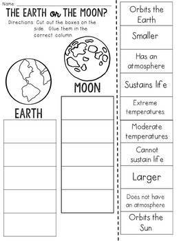 Earth or Moon? Cut and Paste Sorting Activity