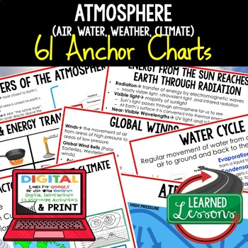 Earth's Atmosphere-Air, Water, Weather, & Climate Anchor Charts