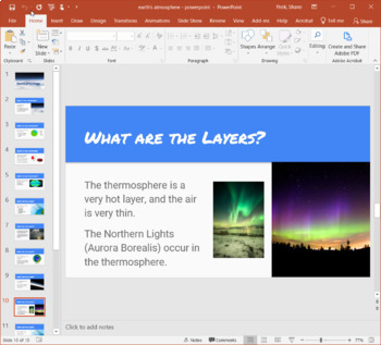 Earth's Atmosphere Bundle - PowerPoint, Guided Notes, CLOZE, Crossword, Quiz