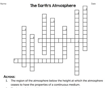 Earth's Atmosphere Crossword Puzzle