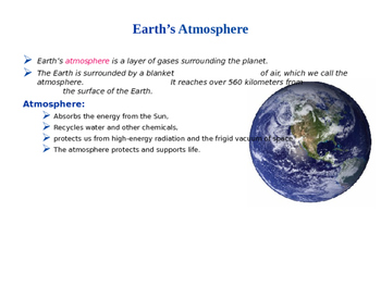 Earth's Atmosphere Explained (Presentation and Handout)