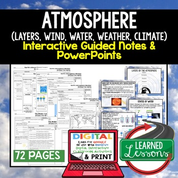 Earth's Atmosphere Guided Notes & PowerPoints NGSS Google, Interactive