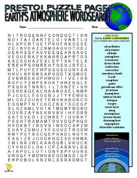 Earth's Atmosphere Puzzle Page (Wordsearch and Criss-Cross)