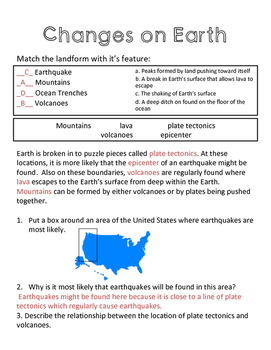 Earth's Changes Quiz - Earthquakes, Volcanoes, Mts, Trenches - MA ESS2.2