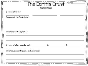 Earth's Crust and the Rock Cycle PowerPoint and Notes
