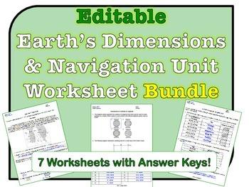 Earth's Dimensions & Navigation Worksheets *EDITABLE BUNDLE*