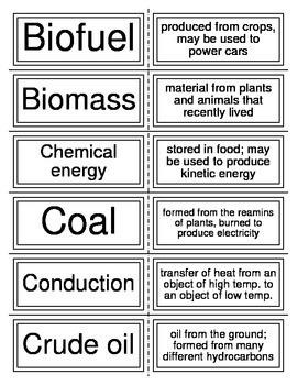 Earth's Energy Flash Cards