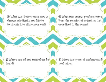 Earth's Energy Resources Task Cards