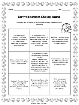 Earth's Features Choice Board