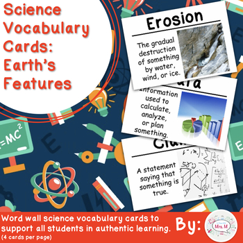 Earth's Features Vocabulary Cards