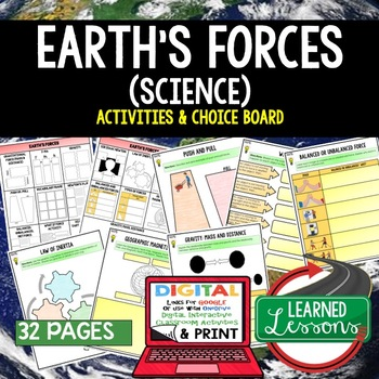 Earth's Forces Choice Board Activities Pages (Google and Paper Versions)