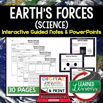 Earth's Forces Guided Notes & PowerPoints NGSS Google, Interactive