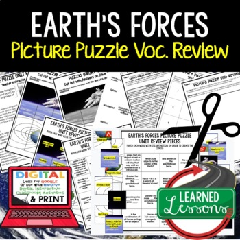 Earth's Forces Picture Puzzle Study Guide Test Prep