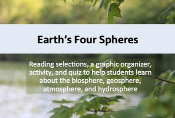 Earth's Four Spheres: Biosphere, Atmosphere, Hydrosphere,
