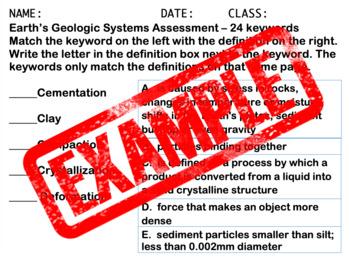 Earth's Geologic Keywords Quiz - Bonus Enhanced Font(24 font) 504/IEP friendly