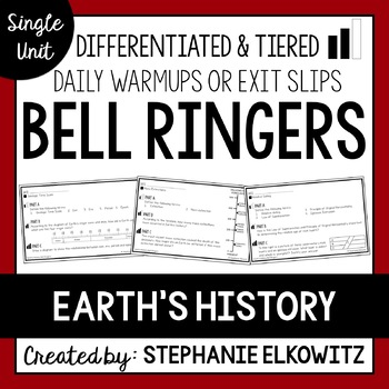 Earth's History Bell Ringers - Distance Learning