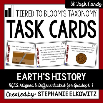 Earth's History Task Cards (Tiered)