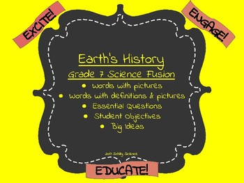 Earth's History-Vocabulary Cards-Word Wall-Objectives-Science Fusion-Unit 3