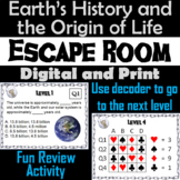 Earth's History and the Origin of Life Activity:  Science Escape Room Biology