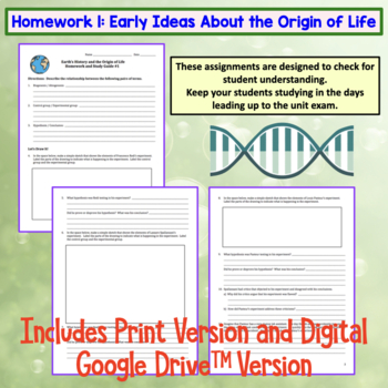 Earth's History and the Origin of Life Homework