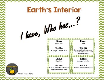 Earth's Interior - I Have, Who Has?
