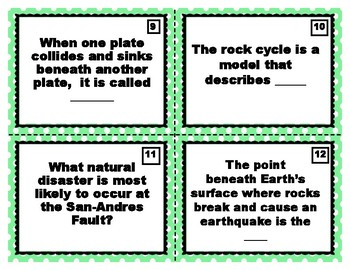 Earth's Interior Task Cards