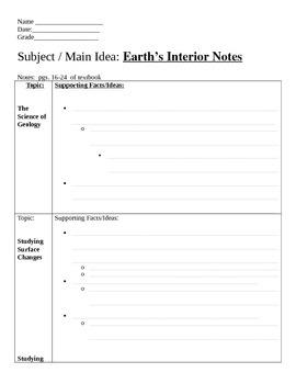 Earth's Interior Two Column Notes