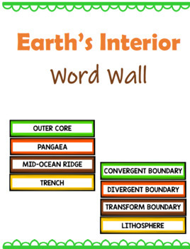 Earth's Interior Word Wall