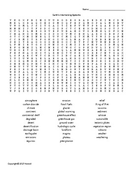 Earth's Interlocking Systems Vocabulary Word Search for Middle School Geography