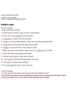 EARTH'S LAND WORKSHEET MCGRAW