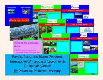 Earth's Land and Water Features Interactive White Board Lesson