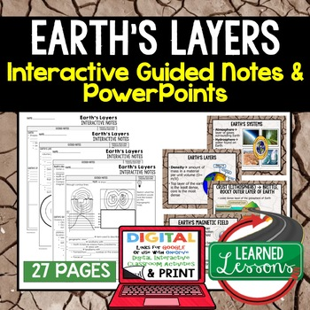 Earth's Layers Guided Notes & PowerPoints NGSS Google, Interactive