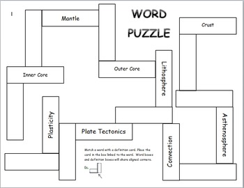 Earth's Layers Vocabulary Puzzle (differentiated)