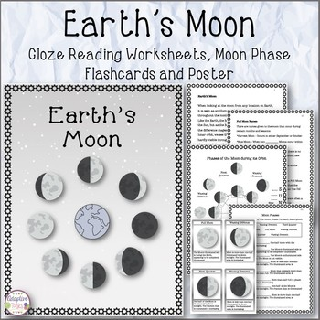 Earth's Moon Cloze Reading Worksheets, Flashcards and Poster
