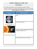 Earth's Motion Introduction Exploration Activity